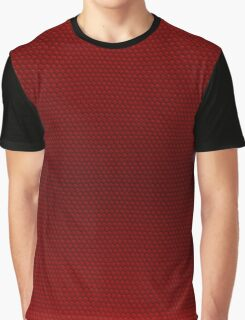Blood Red Pebbled Hexagonal Reptile Snakeskin Pattern Graphic T-Shirt