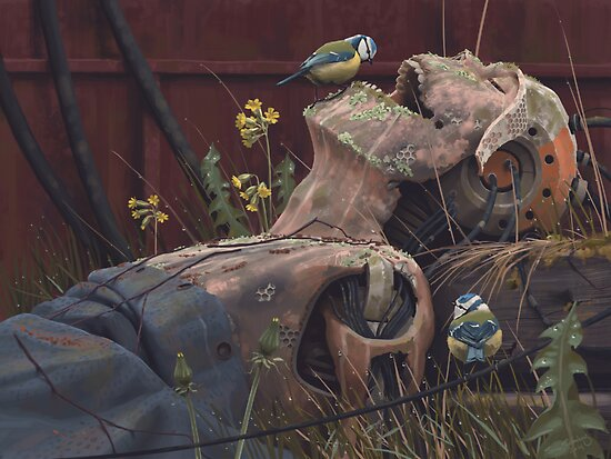 On the activities of primates and passerines by Simon Stålenhag