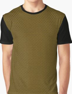 Bronze Pebbled Hexagonal Reptile Snakeskin Pattern Graphic T-Shirt