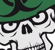 gefährlich rüstung maschinengewehr horror armee helm krieg zombie skelett böse soldat kämpfer waffe biohazard symbol zeichen  Sticker