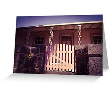 Old house with bluestone fence and pink gate Greeting Card