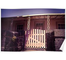 Old house with bluestone fence and pink gate Poster