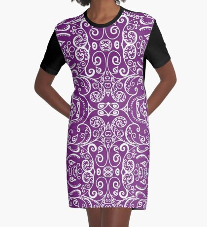 Silent Era, Violet Graphic T-Shirt Dress