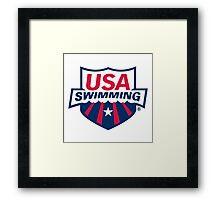 USA SWIMMING STICKER Framed Print