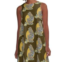 Multi-colored Cat Graphic A-Line Dress