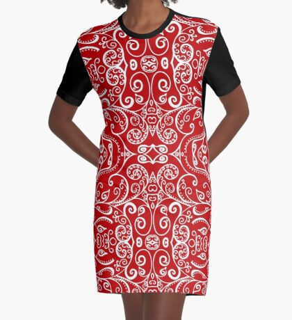 Silent Era, Red Graphic T-Shirt Dress