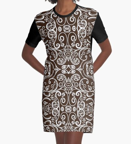 Silent Era, Brown Graphic T-Shirt Dress