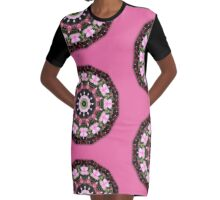 Pink blossoms, Flower Mandala Graphic T-Shirt Dress