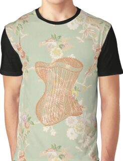 Victorian Green Peach Floral Corset Graphic T-Shirt