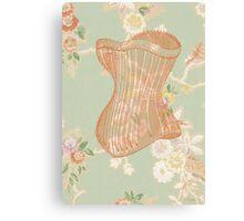 Victorian Green Peach Floral Corset Canvas Print