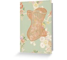 Victorian Green Peach Floral Corset Greeting Card