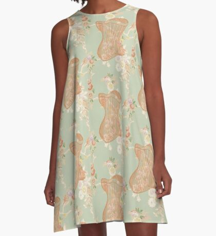 Victorian Green Peach Floral Corset A-Line Dress