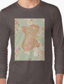 Victorian Green Peach Floral Corset Long Sleeve T-Shirt