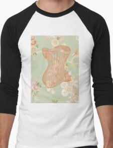 Victorian Green Peach Floral Corset Men's Baseball ¾ T-Shirt
