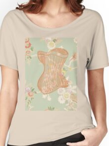 Victorian Green Peach Floral Corset Women's Relaxed Fit T-Shirt