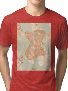 Victorian Green Peach Floral Corset Tri-blend T-Shirt
