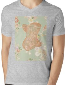 Victorian Green Peach Floral Corset Mens V-Neck T-Shirt