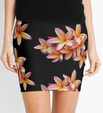 Hawaiian Pink Plumeria Blossoms Mini Skirt