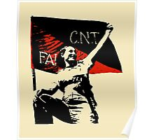 Anarchy Flag Woman - for bright backgrounds Poster