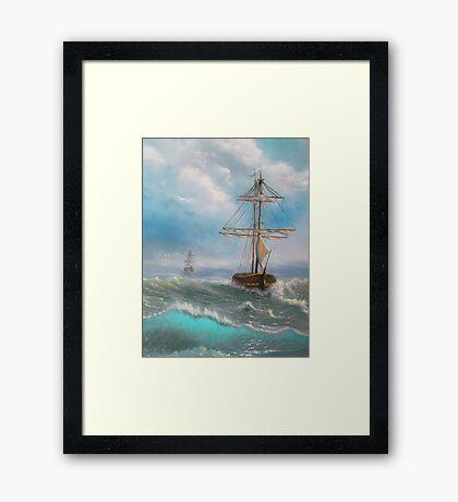 Ocean, Sea, Sailing, Fresh painting. Framed Print