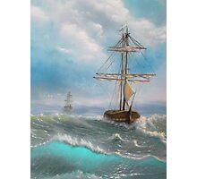 Ocean, Sea, Sailing, Fresh painting. Photographic Print