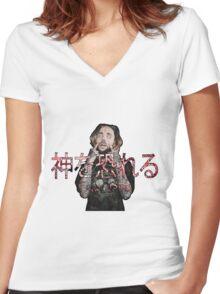 SLAPCENTRXL - ( 神を恐れる)Fear God Women's Fitted V-Neck T-Shirt