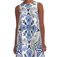 Blue and white patterned azulejos, Porto A-Line Dress