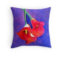Red Lilys Throw Pillow