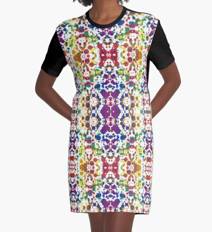Rainbow Tears, White Graphic T-Shirt Dress