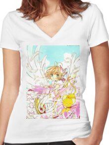 Sakura Flower Women's Fitted V-Neck T-Shirt