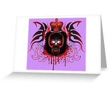 Red Gothic Skull With Crown And Blood Greeting Card