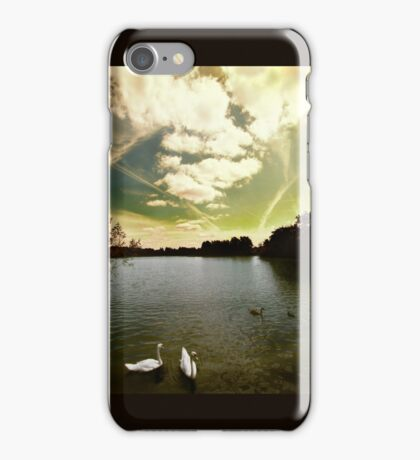 Swans and Sky at Thatcham Lakes iPhone Case/Skin