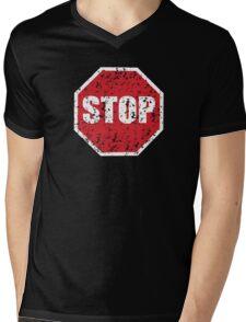 STOP sign distressed Mens V-Neck T-Shirt