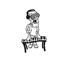 dj party musik klavier keyboard klimpern brille funky cool kopfhörer club band konzert spielen zombie horror halloween  Photographic Print