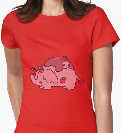 Strawberry Sloth and Elephant Womens Fitted T-Shirt