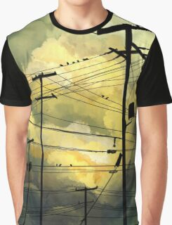 green sky telephone wires Graphic T-Shirt