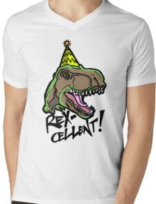 Rex-Cellent Dinosaur Theme Party for Kids and Adults Tyrannosaurus Mens V-Neck T-Shirt