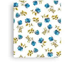 Blue, Green, and White Painted Floral Pattern Canvas Print