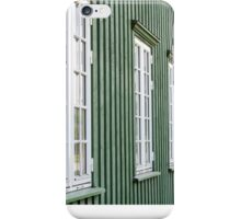 White wooden windows and green walls - traditional architecture in Norway iPhone Case/Skin