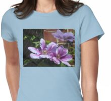 Sunlit Clematis Blossoms Womens Fitted T-Shirt