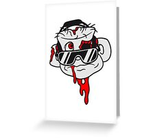 dj party kopf gesicht blut kopfhörer club feiern tanzen musik platte auflegen zombie horror halloween cool sonnenbrille  Greeting Card