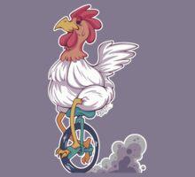 Cartoon Chicken Unicycle Kids Tee