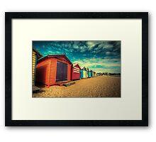 Brighton Beach Huts retro look Framed Print