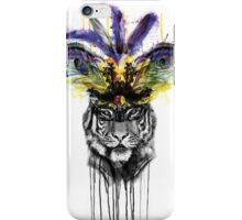 Carnival - Ink and Charcoal Burlesque Tiger Portrait iPhone Case/Skin
