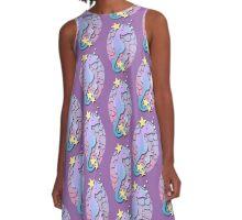 Purple and Blue Seahorse Art A-Line Dress