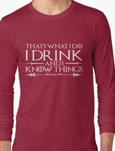 Men's I Drink Shirt Funny Drinking Wine Beer Books Smart Things Long Sleeve T-Shirt