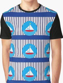 Anchor Red Sailboat Blue Stripes Nautical Marine Sea Graphic T-Shirt