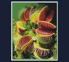 """""""VENUS FLY TRAP"""" Flowered Poster Print One Piece - Long Sleeve"""