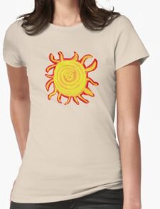Red Hot Yellow Orange Sun Womens Fitted T-Shirt