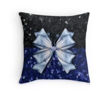 Black and Blue Sequins with Bow Throw Pillow